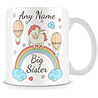 Big Sister Unicorn Mug - Personalised Cup for Child with Name - Gift For Sister or Daughter