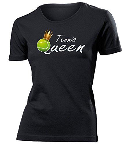 Tennis Queen 5366 Sport Fan Shirt Tshirt Fanartikel Fanshirt Frauen turniershirt Shop Sportbekleidung Damen T-Shirts Schwarz S