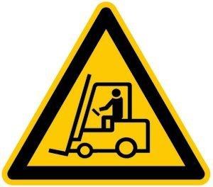 Inter Flower - Warnschild - WARNUNG VOR FLURFÖRDERZEUGEN - Dreieckig - 31 x 27 cm - PVC/Plastik - gelb - Arbeitsschutz - Warnzeichen Kunststoffschild - Arbeitsplatz - Betrieb - Schutz