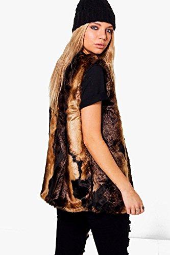 marron Femme Zoe Faux Fur Gilet Marron