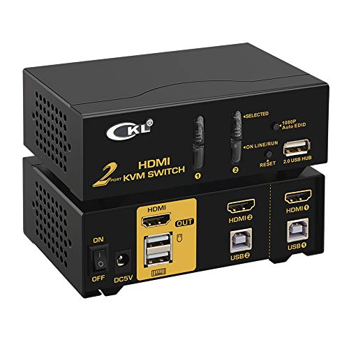 USB HDMI KVM Switch 2 Port + Kabel Kits Unterstützt Auto Scan 1080p 3D, PC Monitor Tastatur Maus Schalter für Computer Server Laptop DVR NVR Desktop CKL-92H - 1080p Computer-monitor