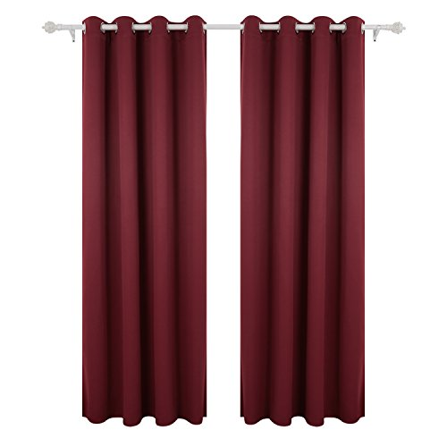 Deconovo tende oscuranti termiche isolanti tende finestre soggiorno moderne con occhielli 140x290 cm rosso 2 pannelli