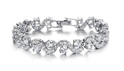 HOMEYU® Pulsera de lujo de lujo Tennis Pulsera de cristal de circonita cúbica blanca plateada Pulsera de novia de la boda