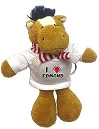 Caballo de peluche (llavero) con Amo Edmond en la camiseta (nombre de pila/apellido/apodo)