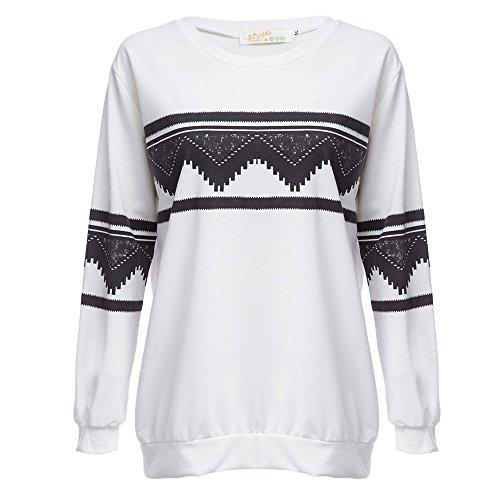 Hannea Round Neck Long Sleeve Print Loose Warm Sweatshirt for Ladies