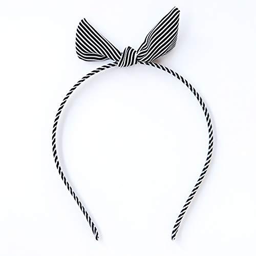 JWTS Haarreife Weibliches süßes frisches Haar des Mädchenstoffkaninchenohr-Haarreifens koreanischer einfacher Band Grotten, Streifenbandschwarzes