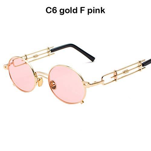Li Kun Peng Männer Metall Oval Frame Steampunk Gothic Vampire Sonnenbrille Einzigartige Retro Sonnenbrille Cosplay Styling Sonnenbrille,C6Glod~Pink