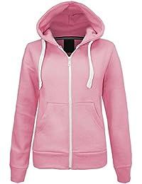 c80d6864466a Womens Hoodies Plain Zip Up Hoody Top Ladies Fleece Hooded Sweatshirt  Jacket S M L XL