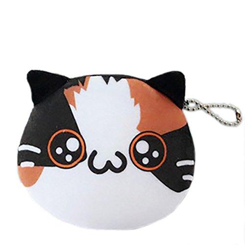 DaoRier Kreatives Design Niedlich Katze Ausdruck Form Student Plüsch Geldbörse Mini Brieftasche Münzfach für Kinder und Mädchen,1 pcs (Style 7) (Ausdrücke Mädchen Geldbörse)