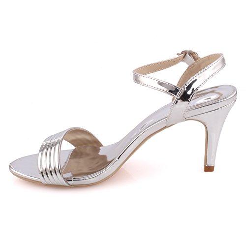 """Unze Le donne """"ischka' Strapped Mid basso tacco alto parte Prom ottenere insieme il carnevale sera sandali tacchi UK dimensioni 3-8 Argento"""