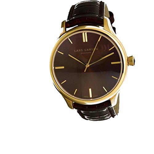 Lars Larsen montre bracelet or avec cordon en cuir–120gsbll