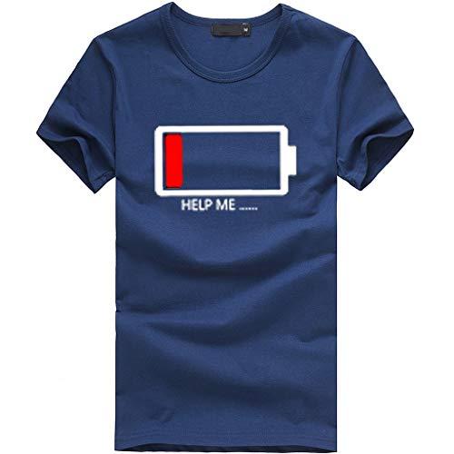 Kviklo Damen Plus Size Mädchen T-Shirt Love/Low Battery Print Kurzarm Tees Lose Oberteile(L(40),Marine-Niedriger Batteriestatus) (Kostüm Mädchen Who Doctor)