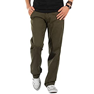AUSERO Men's Cargo Trousers, Regular Fit Casual Chino Pants Cotton Combats Military Work Wear Pants,Military Green, 40Wx32L