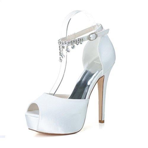 LEI&LIMariée en Satin mariée de la femme chaussures talons hauts Peep Toe pour soirée Prom Party avec strass cristal Rose