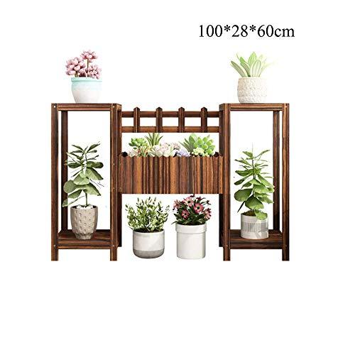 GWM Support pour Plantes en Bois, planteur à 2/3 Niveaux, présentoir de bonsaï, Support à Fleurs en Plein air pour décor de Jardin (Couleur: Couleur Bois) (Taille : 100 * 28 * 60cm)