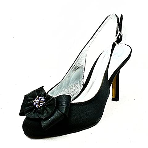 Black satin high heel sling back peep toe evening shoes with beaded flower (Rosette Sling)