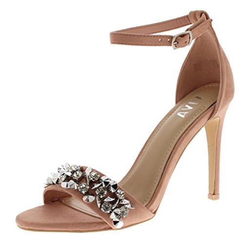 Viva Mujer Diamante Correa Delantera Correa de Tobillo Fiesta Sandalias Tacones Altos Zapatos - Rosado KL0260C 4UK/37