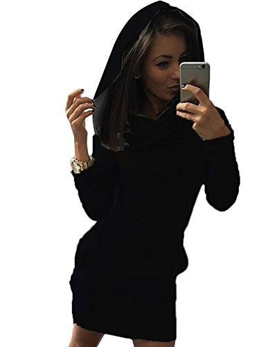 n Kapuzenpullover Langarm Pullover Hoodie Tunika Longshirt Kleider Schwarz DE 34 (Mädchen Hi Lo Kleid)
