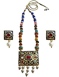 Geode Delight Designer Navratan Pendant With Multi-Stone Necklace With Earrings For Women And Girls