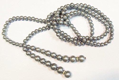 Perlenkette grau Länge: 1,35 m (ohne (Großhandel Perlenketten)