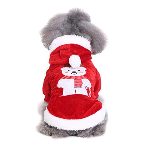 Leezo Weihnachten Kostüm Haustier Katze Hund Welpen Polyester Weichen Bären Muster Kleidung Bekleidung Mode Niedlichen Winter Cosplay Coat Coat Coat Anzug S/M / L/XL