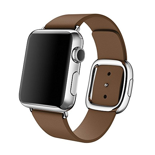 Apple Watch cinturino,42mm Sumin® Modern Buckle Genuine Leather cinturino with Double Button Magnetic Closure Replacement Wristcinturino Strap Bracelet for Apple Watch All Models 42mm - Brown