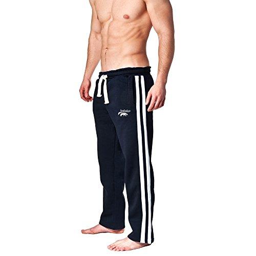 SMILODOX Jogginghose Herren | Trainingshose für Sport Fitness Gym Training & Freizeit | Sporthose - Jogger Pants - Sweatpants Hosen - Freizeithose Lang, Farbe:Blau/Weiss, Größe:M