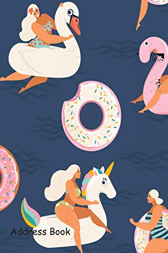 Address Book: Include Alphabetical Index With Flamingo, unicorn, swan and sweet donut inflatable swimming pool cover