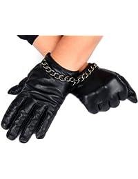 Calonice Amorino Damen Lederhandschuhe kurz schwarz mit silberfarbene Metallkette und softem Schafsleder gefüttert M-Size 6000