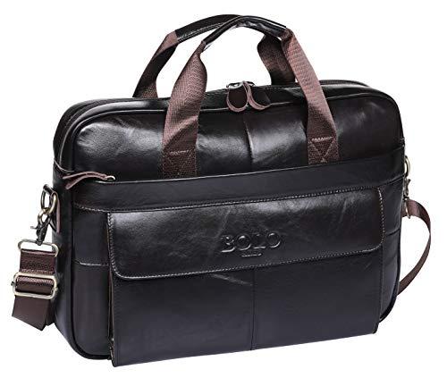 BOLO 13 14 Zoll Laptop Aktentasche Handarbeit Leder Aktentasche Business-Schulter Business-Tasche für Computer (Dunkler Kaffee-BP)