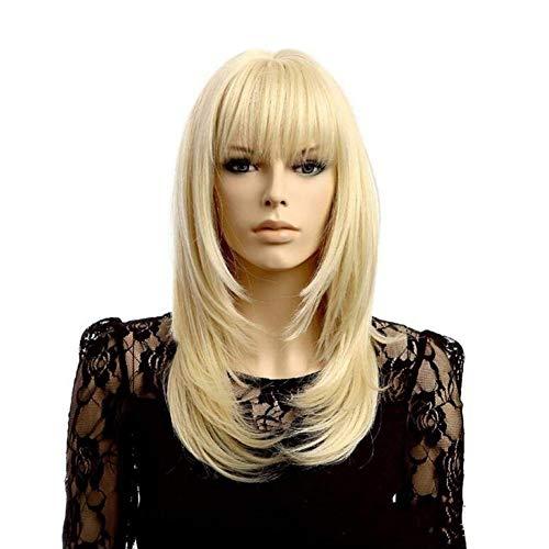 YUI Lange gerade Blonde Farben-Perücke mit Pony Cosplay volle Perücken Hochtemperatur-Faser-Haar für Frauen, Gold -