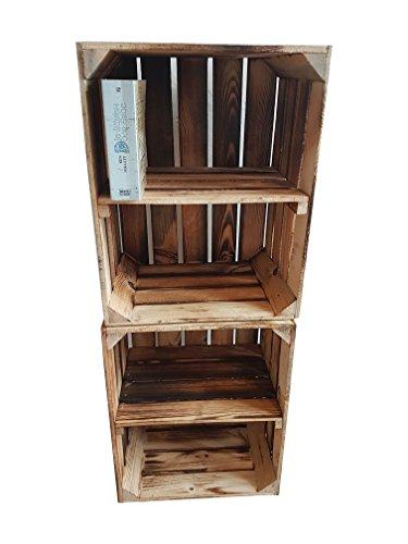 AB SOFORT: ZWISCHENBÖDEN VERSCHRAUBT Massive NEUE geflammte Kiste als Schuh- und Bücherregal +++ Obstkiste mit Zwischenbrett +++ Einzeln / 2er SET von BLUMENKÜBELXXL...