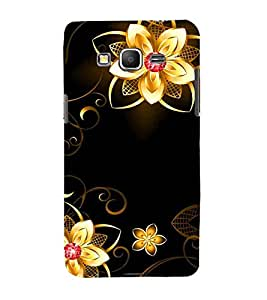 For Samsung Galaxy Grand Prime :: Samsung Galaxy Grand Prime Duos :: Samsung Galaxy Grand Prime G530F G530Fz G530Y G530H G530Fz/Ds floral pattern, pattern, flower, black background Designer Printed High Quality Smooth Matte Protective Mobile Case Back Pouch Cover by APEX