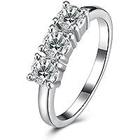 Anillo de compromiso, elegante, anillo de diamante de moda para mujer, anillo romántico