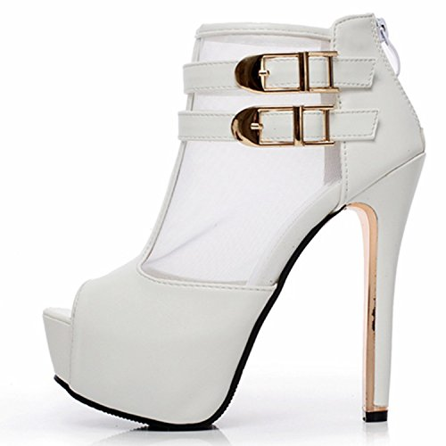 Oasap Damen Offen Plattform High Heels Knöchelriemchen Pumps White