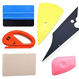 Anano 6 in 1 Vinyl Car Wrap Tool Kit Accessories Window Tint Tool Wrapping Squeegee Wool Scraper Carbon Fiber Film Safety Snitty Cutter