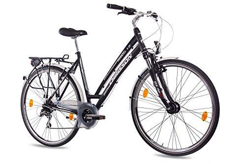 CHRISSON 28 Zoll Damen City Bike - Sereto 1.0 schwarz - Damenfahrrad mit 24 Gang Shimano Acera Kettenschaltung und Nabendynamo, Trekkingfahrrad mit Suntour Federgabel
