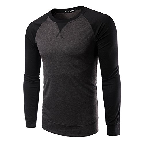 BOMOVO Herren Langarmshirt O-Neck T-shirt - Slim Fit Dark Gray