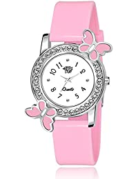 Swadesi Stuff Analog White Dial Diamond Studded Pink Butterfly Watch for Girls & Women