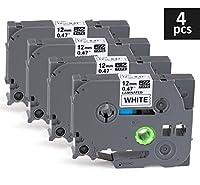 4 x Ruban Etiqueteuse Cassette Ruban pour étiqueteuse Noir sur Blanc 12mm x 8m,Compatible Brother P-Touch Étiqueteuses PT-E100 PT-E200 D200 D210 H100 P300BT 1010 1090 110CH 1230PC  Spécification de produit:  Quantité : 4 x Ruban Etiqueteuse Cassette ...