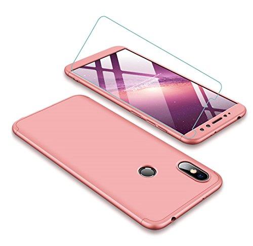 Funda Xiaomi Redmi S2 360 Grados Oro Rosa Ultra Delgado Todo Incluido Caja del teléfono de la Protección 3 en 1 PC Case + Protectora de Película de Vidrio Templado JOYTAG-Oro Rosa