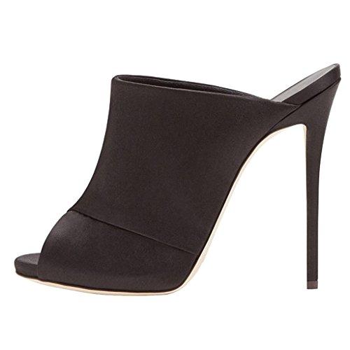 LYY.YY Kreuz Wildleder Pantoffeln Flip Flop Super High Heel Sandaletten Schwarze Pantoletten Schuhe Sexy Stöckelschuhe Offene Zehen Sandalen (Absatzhöhe: 11-13Cm),Black,43 Sexy Strass Heels
