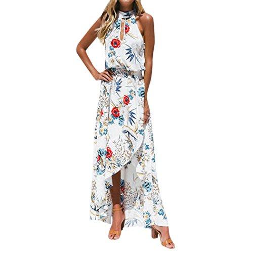 Ansenesna Kleid Damen Sommer Lang Mit Schlitz Boho Blumen Elegant Strandkleid Neckholder Vorne Kurz Hinten Lang Asymmetrisch Partykleid (S, Weiss)