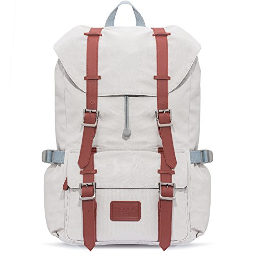 Fjorda Rucksack aus 100% Canvas Wasserdicht als Handgepäck - Laptop und Notebook bis 17 Zoll Damen und Herren - 23L Hellgrau