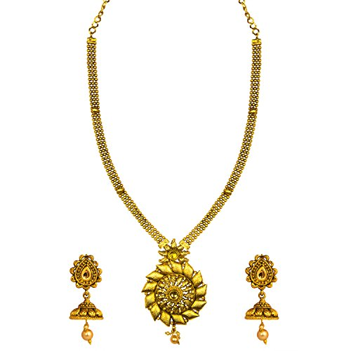 Om Jewells Traditional Ethnic Plain Rising Sun Antique Necklace Set NL1000533