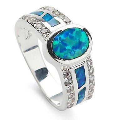 moda argento 925 placcata in rame anello blu opale , 9-blue , 9-blue