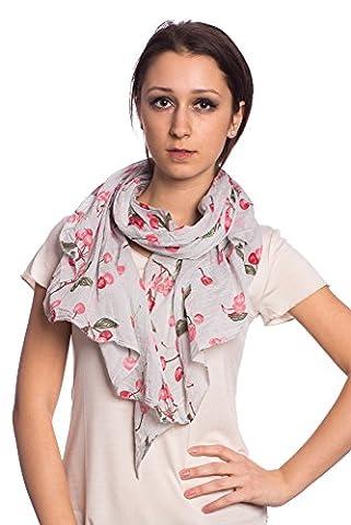 Abbino 0804-8 Schal Tuch Damen - Made in Italy - 7 Farben - Frühjahr Sommer Herbst Damenschal Seidenschal Baumwolle Seide Sale Sexy Klassisch Lang Weich Lässig Freizeit Kirschen - Grau