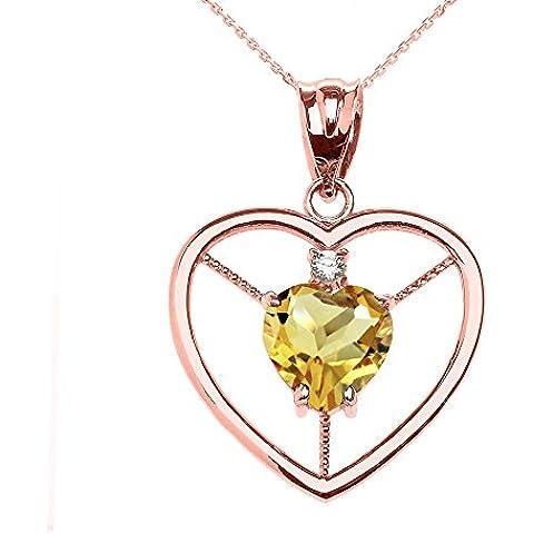 Donne Collana Pendente Elegante 14 Ct Rosa Oro Citrino E Diamante Solitario Cuore (Viene Fornito Con Una Catena Da 45cm)