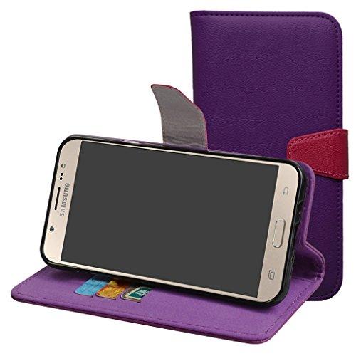 Samsung Galaxy J7 2017 Hülle,Mama Mouth Brieftasche Schutzhülle Case Hülle mit Kartenfächer und Standfunktion für Samsung Galaxy J7 2017 Smartphone,Violett
