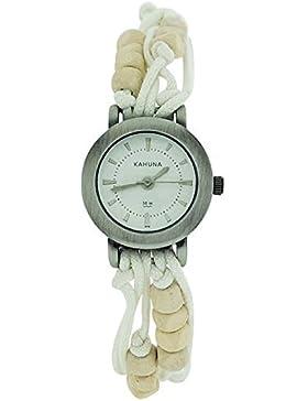 Kahuna Damenarmbanduhr weißes Perlenband Knebelverschluss KLF-0001L